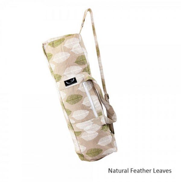 yoga-mat-bag-natural-feather-leaves
