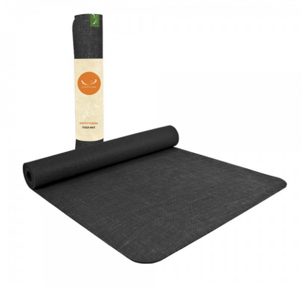 black rubber and jute yoga mat